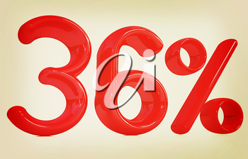 3d red 36 - thirty six percent on a white background. 3D illustration. Vintage style.
