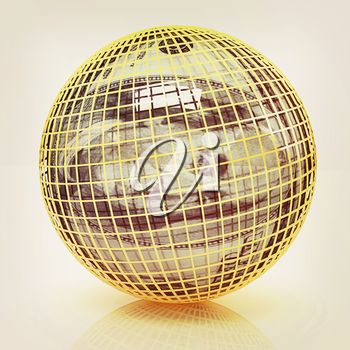 Sphere from  dollar on a white background. 3D illustration. Vintage style.