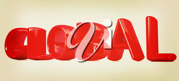 3d text Global on a white background. 3D illustration. Vintage style.
