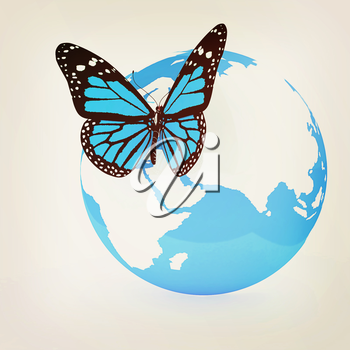 Earth and butterfly on white background. 3D illustration. Vintage style.