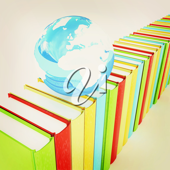 Colorful books and earth on a white background. 3D illustration. Vintage style.