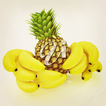 pineapple and bananas on a white background. 3D illustration. Vintage style.