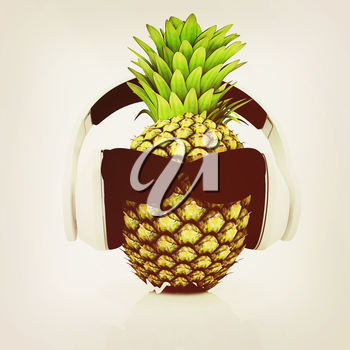 Pineapple with sun glass and headphones front face on a white background. 3D illustration. Vintage style.