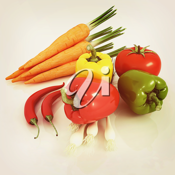 fresh vegetables with green leaves on a white background. 3D illustration. Vintage style.
