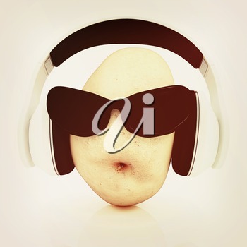 potato with sun glass and headphones front face on a white background. 3D illustration. Vintage style.