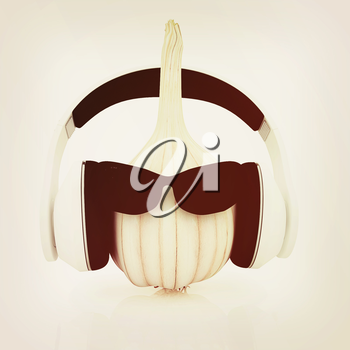 Head of garlic with sun glass and headphones front face on a white background. 3D illustration. Vintage style.