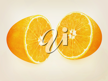 half oranges on a white background. 3D illustration. Vintage style.