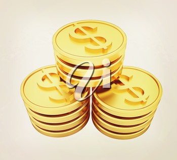Gold dollar coins on a white background. 3D illustration. Vintage style.