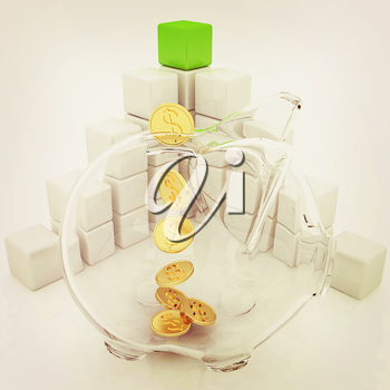 cubic diagram structure and piggy bank on a white background. 3D illustration. Vintage style.