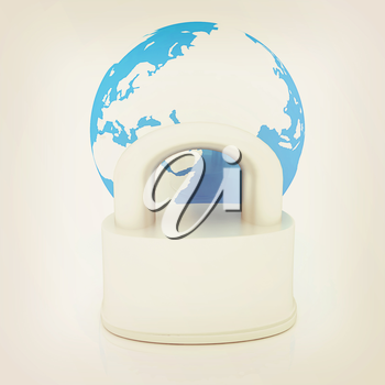 globe and padlock on a white background. 3D illustration. Vintage style.
