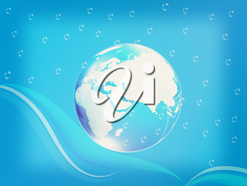 Blue water drops background and earth. 3D illustration. Vintage style.