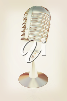 metal microphone on a white background. 3D illustration. Vintage style.