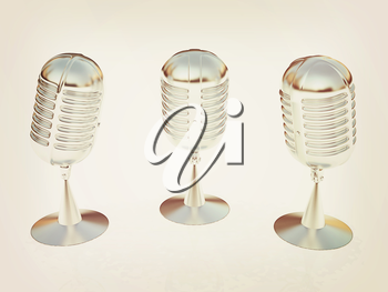 3 metal microphones on a white background. 3D illustration. Vintage style.