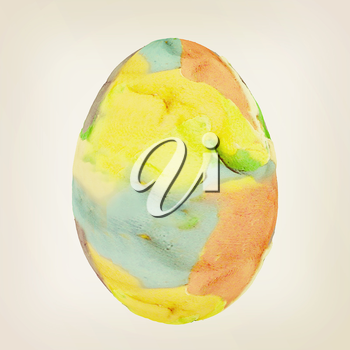 Easter Egg with colored strokes Isolated on white background. 3d. 3D illustration. Vintage style.