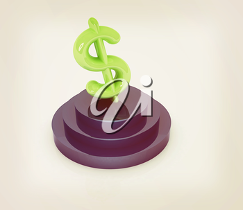 Dollar sign on podium. 3D icon on white background. 3D illustration. Vintage style.