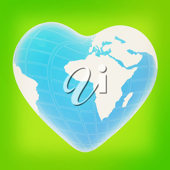 3d earth to heart symbol on a green background. 3D illustration. Vintage style.