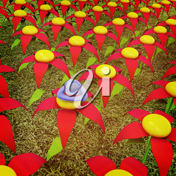 One individuality blue hat on a flower. 3D illustration. Vintage style.