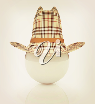 3d hats on white ball. Sapport icon on a white background. 3D illustration. Vintage style.