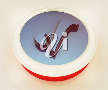 Accept button on a white background. 3D illustration. Vintage style.