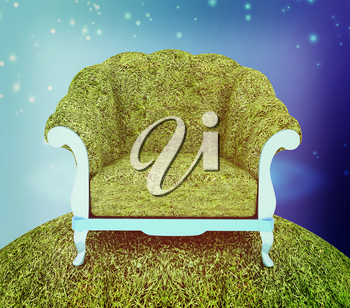 Herbal armchair against the background the starry sky. 3D illustration. Vintage style.