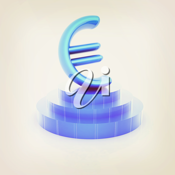 Euro sign on podium. 3D icon on white background (high details and quality of the rendering). 3D illustration. Vintage style.