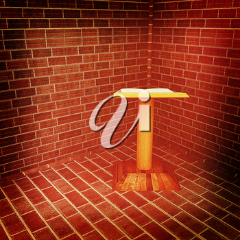 The cathedra in the corner of a brick . 3D illustration. Vintage style.