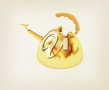 Glossy golden kettle on a white background. 3D illustration. Vintage style.
