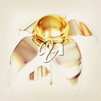 Chrome flower with a gold head on a white background. 3D illustration. Vintage style.
