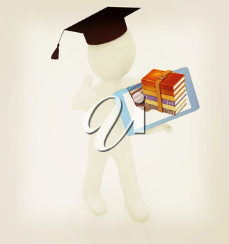 3d white man in a grad hat with thumb up,books and tablet pc - best gift a student on a white background. 3D illustration. Vintage style.