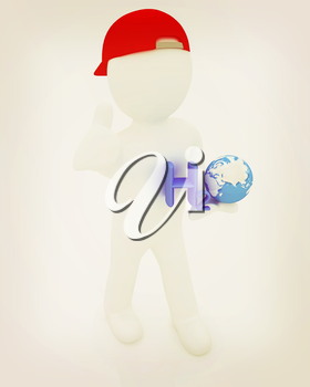 3d small man with H2O - formula of water on white background. 3d image . 3D illustration. Vintage style.