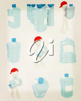 Set of 3d man carrying a water bottle with clean blue water on a white background. 3D illustration. Vintage style.