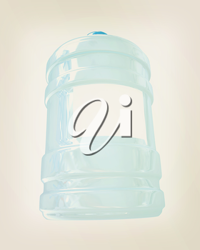 Bottle with clean blue water on a white background. 3D illustration. Vintage style.