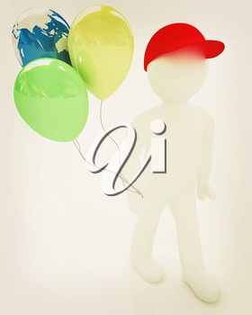 3d man keeps balloons of earth and colorful balloons . Global holiday on a white background. 3D illustration. Vintage style.