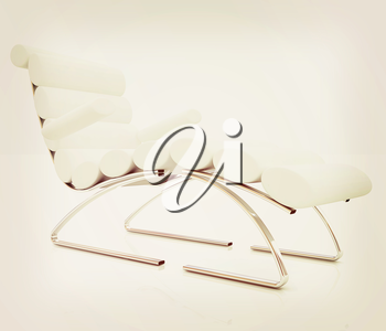 Comfortable white Sun Bed on white background. 3D illustration. Vintage style.
