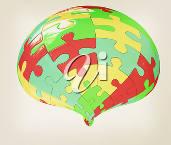 Abstract shape collected from colorful puzzle on a white background. 3D illustration. Vintage style.