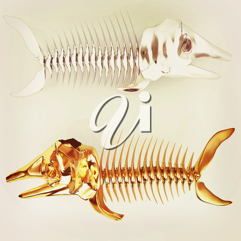 3d metall illustration of fish skeleton on a white background. 3D illustration. Vintage style.