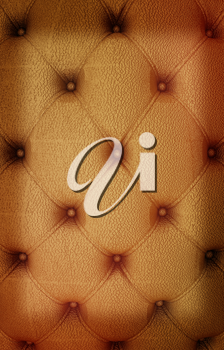 Sepia picture of genuine leather upholstery . 3D illustration. Vintage style.
