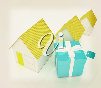 Houses and gift . 3D illustration. Vintage style.