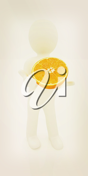 3d man with half orange on a white background. 3D illustration. Vintage style.