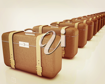Brown traveler's suitcases on a white background. 3D illustration. Vintage style.