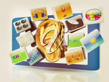 Ear gold on tablet pc with cloud of media application Icons on a white background. 3D illustration. Vintage style.