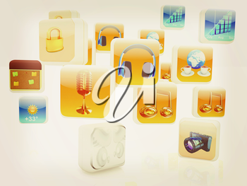 Cloud of media application Icons on a white background. 3D illustration. Vintage style.