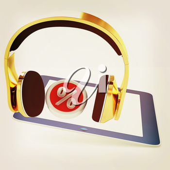 Phone gold on tablet pc with percent on a white background. 3D illustration. Vintage style.