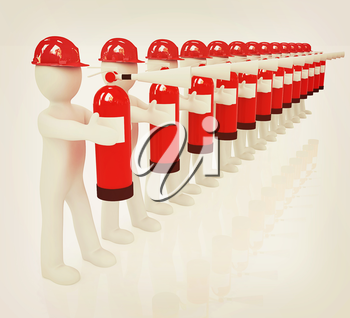 3d mans in hardhat with red fire extinguisher on a white background. 3D illustration. Vintage style.