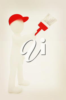 3d man with paint brush on a white background. 3D illustration. Vintage style.