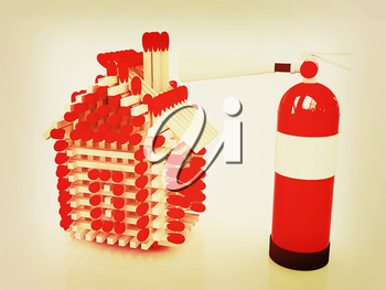 Red fire extinguisher and log house from matches pattern on white . 3D illustration. Vintage style.