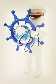 Sailor with steering wheel and earth. Trip around the world concept on a white background. 3D illustration. Vintage style.