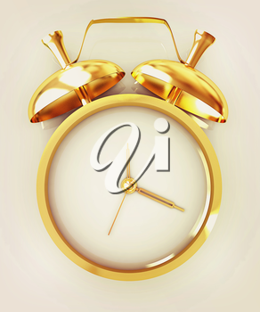 3D illustration of gold alarm clock icon on a white background. 3D illustration. Vintage style.