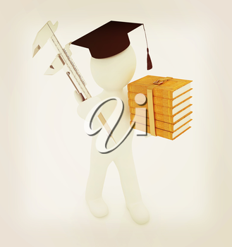 3d man in graduation hat with the best technical educational literature and vernier caliper on a white background. 3D illustration. Vintage style.