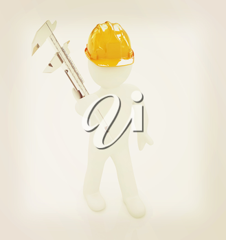 3d man engineer in hard hat with vernier caliper on a white background. 3D illustration. Vintage style.